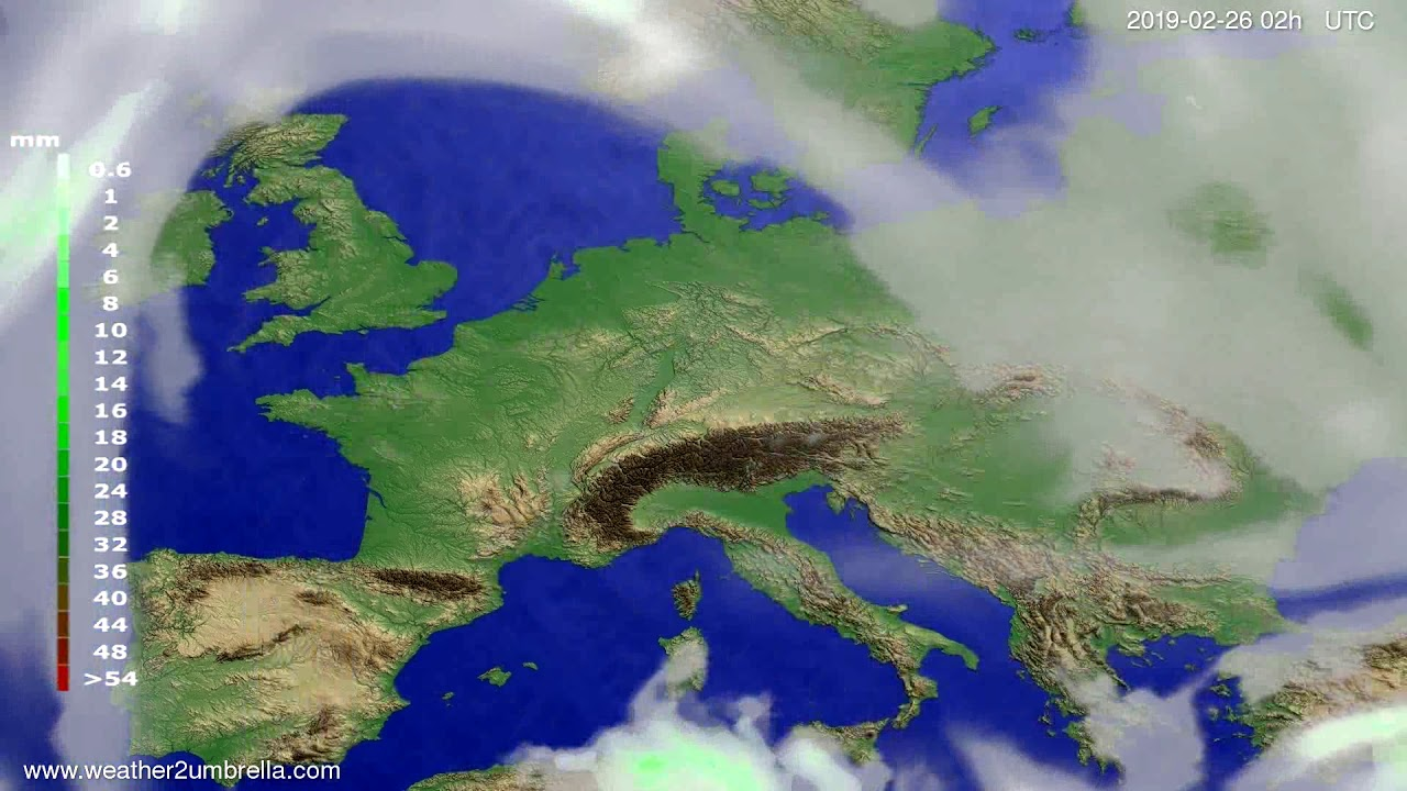 #Weather_Forecast// Precipitation forecast Europe 2019-02-24