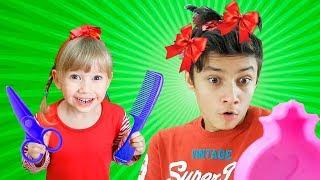 Alena and Pasha play beauty salon Compilation by Chiko TV