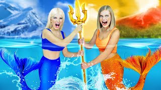 HOT VS COLD MERMAID CHALLENGE || Best Funny Diy Mermaid Situations by RATATA