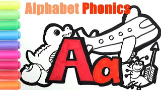 Alphabet Coloring Pages For Kids| How To Read And Spell|A Is For Airplane Apple Ant Arrow Alligator