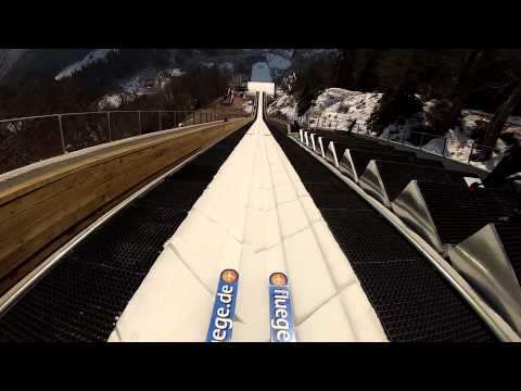 First Person Point of View Launching Off a Ski Jump