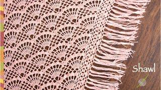 ¡Chal o punta salmón con abanicos grandes tejido a crochet para Daniela!