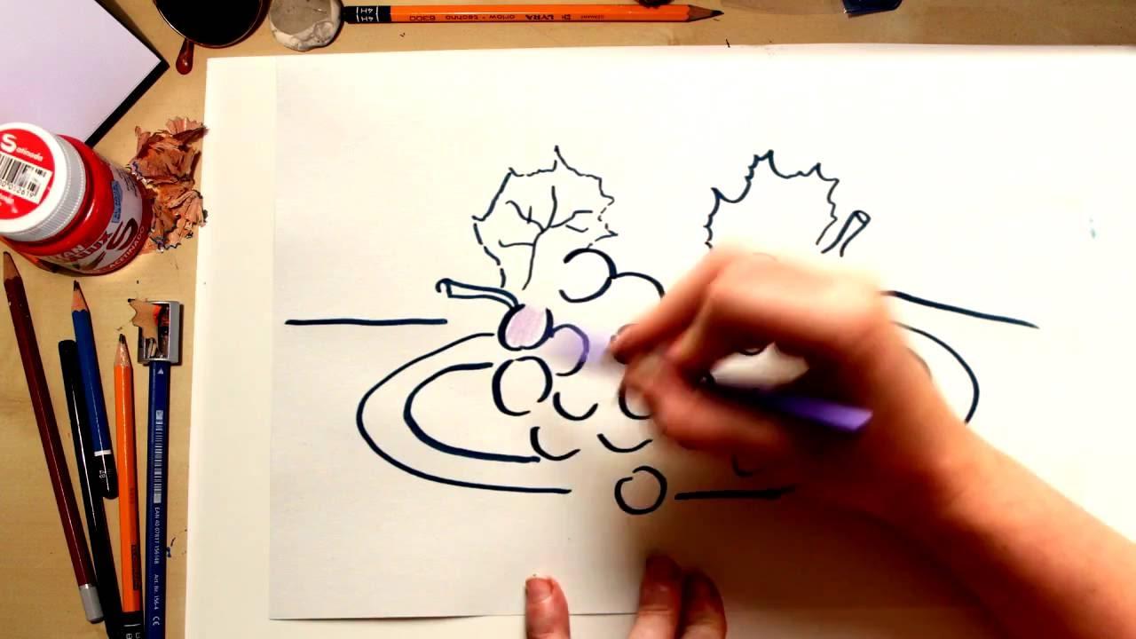 Como dibujar Uva - dibujos de frutas para niños