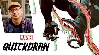 Artist Mike del Mundo draws Venom | Marvel Quickdraw