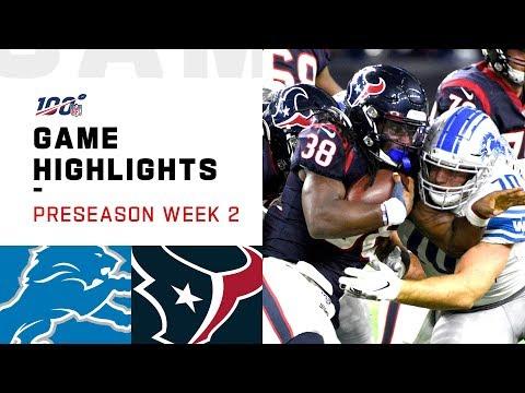 Lions vs. Texans Preseason Week 2 Highlights | NFL 2019