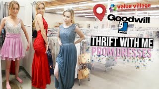 THRIFT WITH ME PROM DRESSES | Try-On & Vlog!!