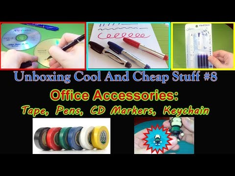 Unboxing Cool and Cheap stuff #8 - Office Accessories (tape, CD markers, pens, keychain)