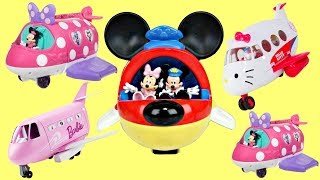 Compilation of Jet Airplane Playsets with Mickey, Minnie, Barbie & Hello Kitty