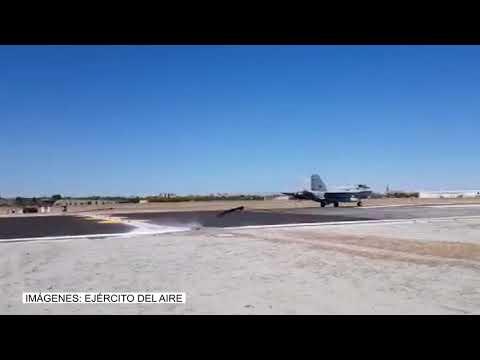 Pruebas de la barrera de frenado de la base aérea de Getafe