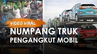 Fakta di Balik Video Viral Motor Numpang Truk Pengangkut Mobil Terjang Banjir di Jakarta Utara