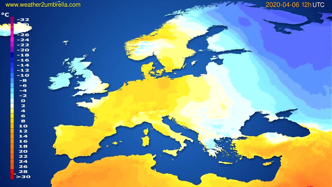 Temperature forecast Europe // modelrun: 00h UTC 2020-04-06