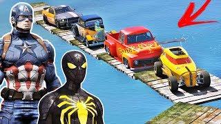 CARROS HOT WHEELS e Heróis Homem Aranha, Capitão América e outros na Rampa com CARROS - GTA V MODS