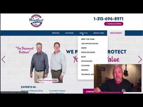 Woodford Bros. Web highlights for wet basement repair