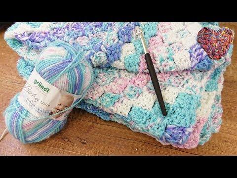 Baby Decke Häkeln | 70x90cm | C2C Anleitung | Rosa Blau mit tollem Farbverlauf | Einfache Anleitung