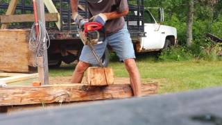 One Man! One old log cabin! Move and restoration. Part 4 . Cutting a dovetail corner