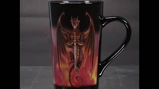 MUGLAS02 - Anne Stokes Heat Changing Latte Mug 'Dragon Warrior'