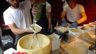 Italian Street Food: Hand Rolled Pasta Fettuccine Alfredo by Cheese Wheel, Camden Lock Market London