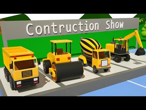 Trucks for Kids Construction Show - #excavator, Dump Truck, Mixer Truck in Surprise Eggs