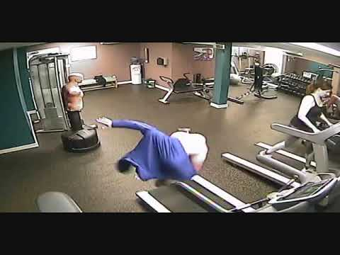Man Tries To Take Off Hoodie On Treadmill & Fails