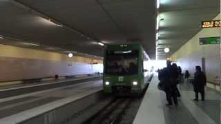 preview picture of video 'Montserrat, Spain - Funicular (Rack Railway) Arrival at Montserrat-Monestir Station HD (2013)'