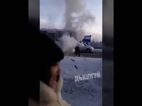 В Якутске загорелся маршрутный автобус с пассажирами