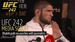 Khabib tires of questions about father at UFC 242 media scrum | Full video