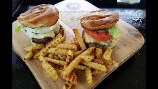 Hamburgers And Fries On The Blackstone Griddle