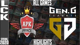 APK vs GEN Highlights ALL  GAMES | LCK Spring 2020 W8D1 | APK Prince vs Gen.G