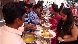 Indian Wedding Food Being Served Up + Ratalu Puri (Purple Yam Bhajias) Being Fried In Valod Village.