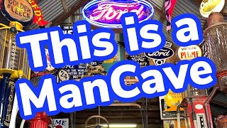 This Is A MAN CAVE - Automobilia Collectors Club Of Australia Enamel Signs, Bowsers, Cars