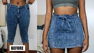 DIY Paperbag Waist Denim Skirt | Jeans Transformation