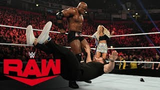 After Lana admits to cheating on Rusev and claims she is pregnant with his baby, Bobbly Lashley emerges to deliver a brutal beatdown of The Bulgarian Brute.  #Raw  GET YOUR 1st MONTH of WWE NETWORK for FREE: http://wwe.yt/wwenetwork --------------------------------------------------------------------- Follow WWE on YouTube for more exciting action! --------------------------------------------------------------------- Subscribe to WWE on YouTube: http://wwe.yt/ Check out WWE.com for news and updates: http://goo.gl/akf0J4 Find the latest Superstar gear at WWEShop: http://shop.wwe.com --------------------------------------------- Check out our other channels! --------------------------------------------- The Bella Twins: https://www.youtube.com/thebellatwins UpUpDownDown: https://www.youtube.com/upupdowndown WWEMusic: https://www.youtube.com/wwemusic Total Divas: https://www.youtube.com/wwetotaldivas ------------------------------------ WWE on Social Media ------------------------------------ Twitter: https://twitter.com/wwe Facebook: https://www.facebook.com/wwe Instagram: https://www.instagram.com/wwe/ Reddit: https://www.reddit.com/user/RealWWE Giphy: https://giphy.com/wwe