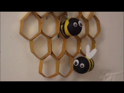DIY: Bienenwaben mit Bienen / basteln mit Kindern / Deko Dekoration selber machen