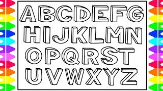 How To Draw 3D Alphabet Letters Kids | Drawing And Coloring Alphabets | ABC A To Z Coloring Pages