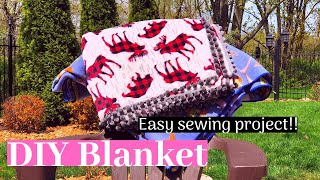DIY Fleece Blanket! || EASY SEWING PROJECT!