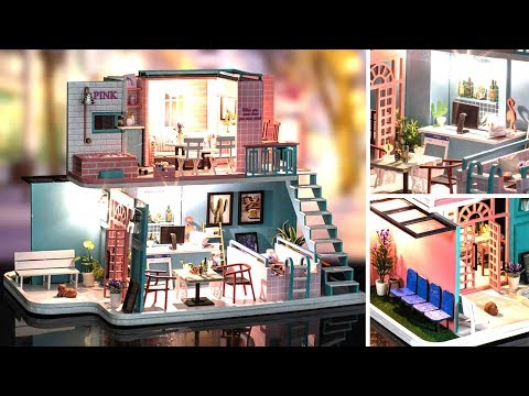 DIY Miniature Dollhouse Kit    Pinky Coffee ( With Full Furniture & Light )