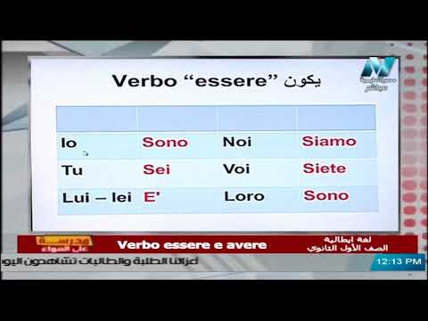 لغة إيطالية للصف الأول الثانوي 2021 - الحلقة 2 - Verbo essere e avere