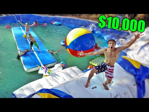 FIRST one to CROSS IMPOSSIBLE SLIPPERY COURSE wins $10,000! (Backyard Water Park)