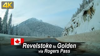 Winter drive through the Rocky Mountains from Revelstoke to Golden – British Columbia, Canada