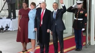 Obamas Welcome Trumps To White House -High Quality Video
