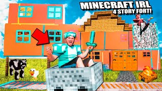 Minecraft IRL 4 STORY Box Fort With Working MINECART Track! Diamonds, Enchanting And More!
