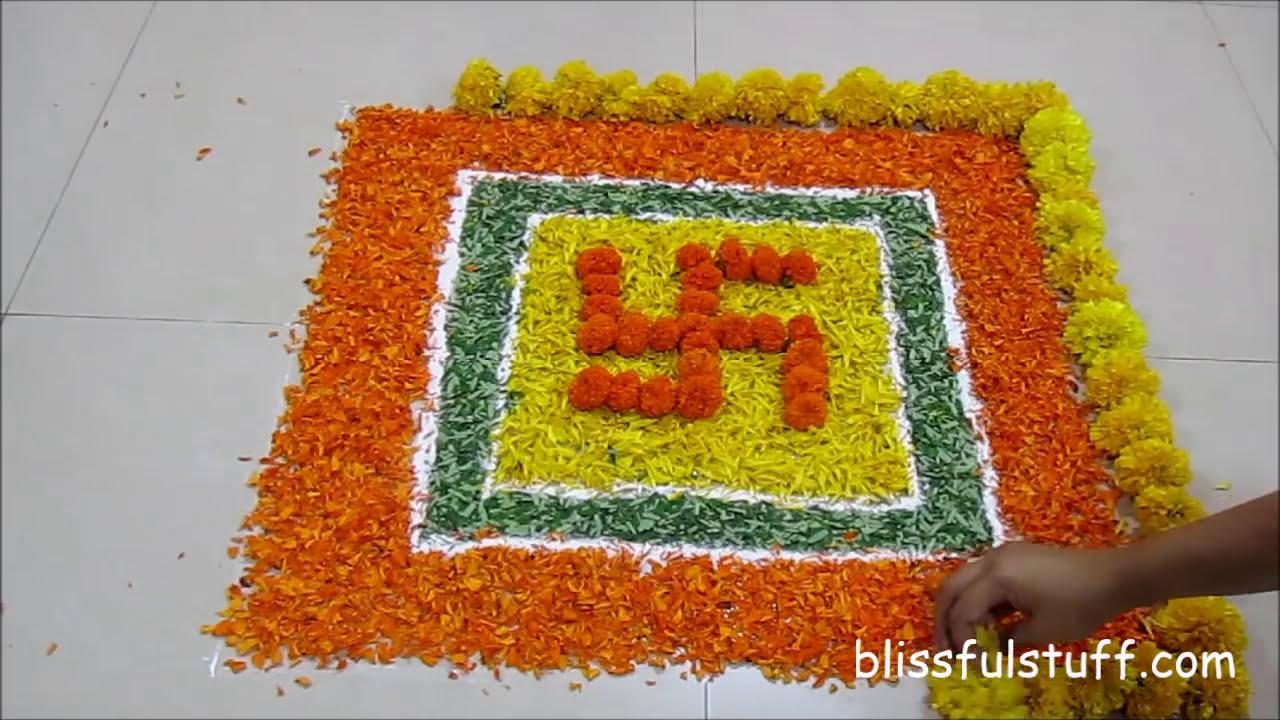 onam pookalam design using marigold flowers by poonam borkar