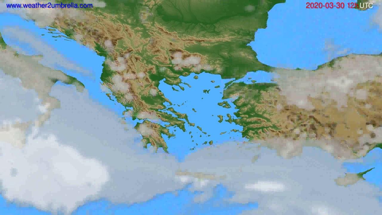 Cloud forecast Greece // modelrun: 00h UTC 2020-03-30