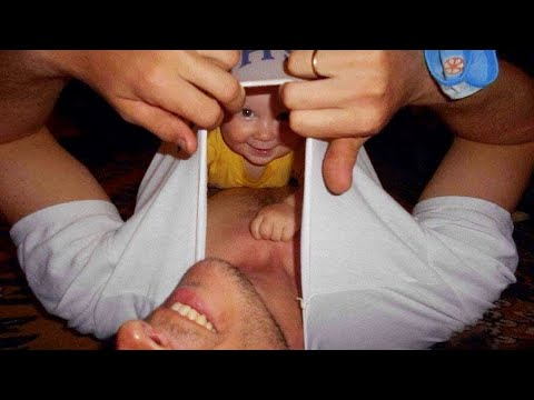 Funny Baby At Home Alone With Daddy - JustSmile