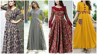 Trendi Cotton Long Maxi Dresses //Long Frock Kurti Design