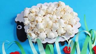 Baranek Z Popcorn, Easter Crafts For Kids, Easter Lamb With Popcorn