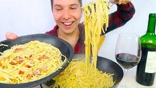 ITALIAN PASTA CARBONARA • Mukbang & Recipe