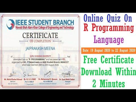 R Programming Language | Free Quiz Certificate | Online Quiz On ...