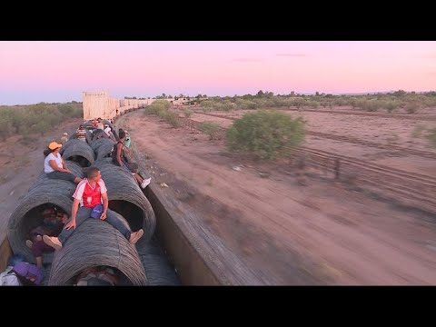 Riding 'the beast': Migrants board Mexico freight train to reach US