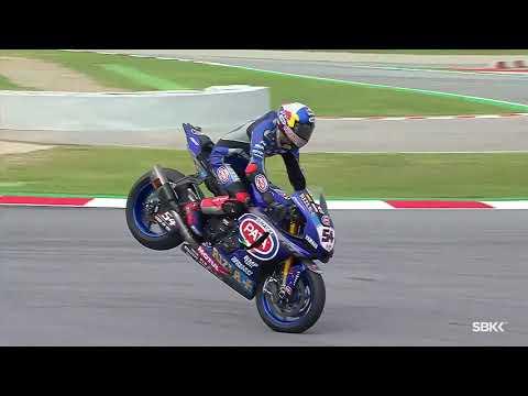 スーパーバイク世界選手権 SBK 第6戦スペイン(カタルニア・サーキット)ジャックナイフで急ブレーキする瞬間。プロライダーのテクはすごい